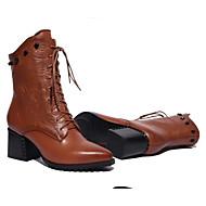 tanie Obuwie damskie-Damskie Fashion Boots Skóra nappa Jesień Botki Masywny obcas Buty zamknięte Kozaczki / kozaki do kostki Czarny / Ciemnobrązowy