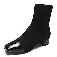 abordables -Mujer Fashion Boots PU Invierno Botas Tacón Bajo Mitad de Gemelo Negro / Marrón / Caqui