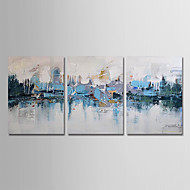 cheap Gallery Wall Art-Oil Painting Hand Painted - Abstract Modern Stretched Canvas / Three Panels