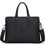 billige Computertasker-Læder Laptoptaske Lynlås Sort / Mørkeblå / Kakifarvet
