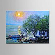 billiga Oljemålningar-Hang målad oljemålning HANDMÅLAD - Landskap / Blommig / Botanisk Moderna Duk