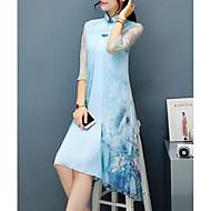 עומד עד הברך א-סימטרי דפוס, פרחוני - שמלה נדן מידות גדולות סגנון סיני מתוחכם Party בגדי ריקוד נשים / משוחרר