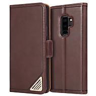 billiga Mobil cases & Skärmskydd-BENTOBEN fodral Till Samsung Galaxy S9 Plus Stötsäker / med stativ / Lucka Fodral Enfärgad Hårt Äkta Läder / PC för S9 Plus