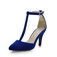 baratos Sapatos Femininos-Mulheres Stiletto Couro Ecológico Primavera Verão Sandálias Salto Robusto Preto / Azul / Verde Escuro