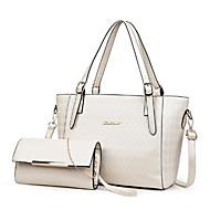 Női Táskák PU táska szettek 2 db erszényes készlet Tömör szín Fehér    Fekete   Rubin 5da29e3a95