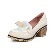 baratos Sapatos Femininos-Mulheres Stiletto Couro Ecológico Primavera & Outono Vintage / Formais Saltos Salto Robusto Ponta Redonda Branco / Preto / Bege