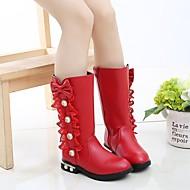 baratos Sapatos de Menina-Para Meninas Sapatos Couro Ecológico Inverno / Outono & inverno Botas da Moda Botas Caminhada Pérolas Sintéticas / Rendado para Infantil / Adolescente Preto / Vermelho / Rosa claro
