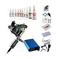 billige Tatoveringssett for nybegynnere-BaseKey Tattoo Machine Startkit - 1 pcs tattoo maskiner med 10 x 5 ml tatovering blekk, Profesjonell Mini strømforsyning 1 x stål tatoveringsmaskin til lining og skyggelegging