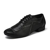 billiga Dansskor-Herr Moderna skor Läder Sneaker Tvinning Tjock häl Dansskor Svart
