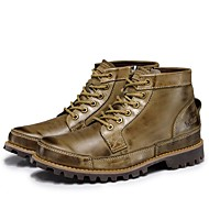 baratos Sapatos Masculinos-Homens Fashion Boots Pele Napa Inverno Clássico / Casual Botas Manter Quente Botas Cano Médio Marron / Khaki