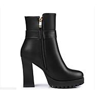 Mulheres Sapatos Confortáveis Couro Ecológico Inverno Botas Salto Robusto Botas Curtas / Ankle Branco / Preto / Amêndoa