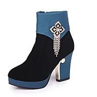 여성용 구두 스웨이드 가을 캐쥬얼 부츠 청키 굽 둥근 발가락 종아리 중간 높이 부츠 일상 / 파티 / 이브닝 용 태슬 블랙 / 레드 / 블루 / 컬러 블럭