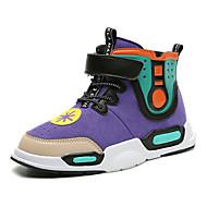 baratos Sapatos de Menina-Para Meninos / Para Meninas Sapatos Couro Ecológico Primavera & Outono / Primavera Conforto Tênis Corrida / Caminhada Cadarço / Combinação / Velcro para Infantil / Adolescente Preto / Roxo / Cinzento