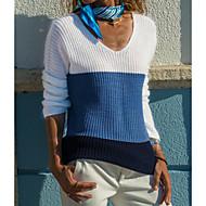 Dámské Denní Základní Barevné bloky Dlouhý rukáv Standardní Rolák Vodní modrá / Světlá růžová M / L / XL