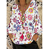 Veći konfekcijski brojevi Bluza Žene Dnevno Cvjetni print V izrez Lila-roza XXXL