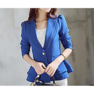 Žene Izlasci / Rad Normalne dužine Sako, Jednobojni Kragna košulje Dugih rukava Poliester Crn / Blushing Pink / Navy Plava L / XL / XXL / Slim