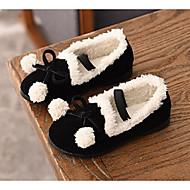 baratos Sapatos de Menina-Para Meninas Sapatos Camurça Inverno Mocassim Rasos Laço / Pom Pom para Infantil Preto / Cinzento / Vermelho