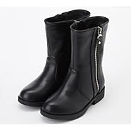 baratos Sapatos de Menina-Para Meninas Sapatos Couro Ecológico Inverno Botas da Moda Botas Ziper para Infantil Preto / Marron