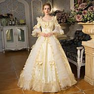 Princess Queen Elizabeth Victorian Rococo Baroque Square Neck Costume Women's Dress Outfits Party Costume Masquerade Golden