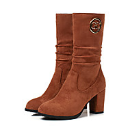 baratos Sapatos Femininos-Mulheres Couro Ecológico Outono & inverno Casual Botas Salto Robusto Ponta Redonda Botas Cano Médio Preto / Marron / Amêndoa