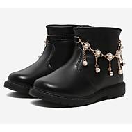 baratos Sapatos de Menina-Para Meninas Sapatos Pele Inverno Botas da Moda Botas Pedrarias para Infantil Preto / Vermelho / Rosa claro
