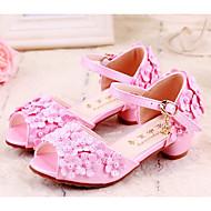baratos Sapatos de Menina-Para Meninas Sapatos Couro Ecológico Verão Sapatos para Daminhas de Honra Sandálias Lantejoulas / Presilha / Flor para Infantil Rosa claro