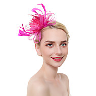 Tulle / Feathers Fascinators / Headdress / Headpiece with Feather 1 Piece Party / Evening / Business / Ceremony / Wedding Headpiece