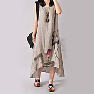 cheap -Women's Floral Plus Size Weekend Chinoiserie Asymmetrical Dress - Floral Print Summer Cotton White Gray Wine XXL XXXL 4XL / Loose