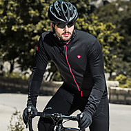 SANTIC Men's Cycling Jersey Bike Jersey Top Thermal / Warm Windproof Fleece Lining Sports Solid Color Elastane Black Mountain Bike MTB Road Bike Cycling Clothing Apparel Bike Wear / Stretchy