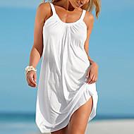 저렴한 -여성용 비치 베이직 시프트 드레스 - 솔리드 미니 스트랩 화이트