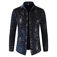 Heren Luxe Print Overhemd Katoen, Feest / Club Luipaard Klassieke boord Marineblauw XL / Lange mouw