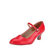 Χαμηλού Κόστους Shall We® Παπούτσια Χορού-Γυναικεία Μοντέρνα παπούτσια / Αίθουσα χορού Δερματίνη Τακούνια Αγκράφα Τακούνι καμπάνα Μη Εξατομικευμένο Παπούτσια Χορού Κόκκινο / Ασημί