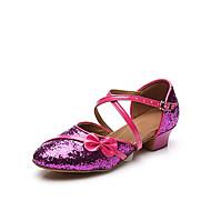 baratos Sapatilhas de Dança-Sapatos de Dança Latina Glitter / Paetês / Courino Sandália Lantejoulas / Apliques / Presilha Salto Robusto Personalizável Sapatos de