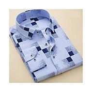 Randig / Geometrisk / Rutig Arbete Skjorta - Affär / Grundläggande Herr Ljusblå 41 / Kortärmad / Långärmad