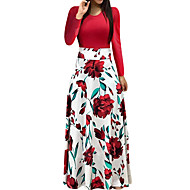 Pentru femei Concediu Ieșire Elegant Rochie - Imprimeu, Floral Maxi Rose