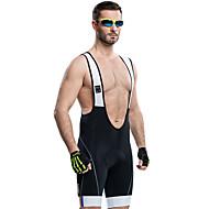 SANTIC Erkek Askılı Bisiklet Şortları - Siyah Tek Renk Bisiklet Bisiklet Şortu Pedli Şortlar Nefes Alabilir 3D Pet Hızlı Kuruma Yansıtıcı çizgili Spor Dalları Splandeks Tek Renk Dağ Bisikletçiliği