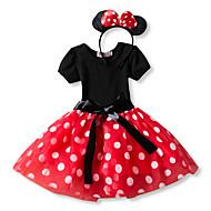 Princess Mouse Polka Dots Cartoon Cute Dress Ears Party Costume Kid's Girls' Costume Head Jewelry Red / Pink Vintage Cosplay Short Sleeve / Headwear / Headwear