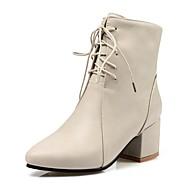 baratos Sapatos Femininos-Mulheres Couro Ecológico Outono & inverno Botas Salto Robusto Botas Cano Médio Preto / Bege / Amarelo