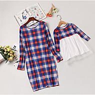 Mama und ich Aktiv Alltag Verziert Langarm Polyester Kleid Rote