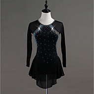 cheap -Figure Skating Dress Women's / Girls' Ice Skating Dress Black Spandex, Stretch Yarn High Elasticity Training / Competition Skating Wear Quick Dry, Anatomic Design, Handmade Classic Long Sleeve