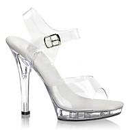 baratos Sapatos Femininos-Mulheres Sapatos PVC Primavera / Verão Tênis com LED / Sapatos clube Saltos Salto Agulha / Heel translúcido / Salto Alto de Cristal