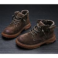 baratos Sapatos de Menino-Para Meninos / Para Meninas Sapatos Camurça Inverno Coturnos Botas Ziper para Infantil Preto / Marron / Khaki