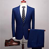 Solide Weite Passform Elasthan / Polyster Anzug - Fallendes Revers Einreiher - 1 Knopf / Anzüge
