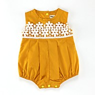 Baby Girls' Active / Basic Daily / Holiday Solid Colored / Floral Lace / Hollow Out Sleeveless Cotton Romper Yellow / Toddler