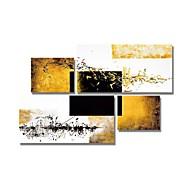 billiga Abstrakta målningar-Hang målad oljemålning HANDMÅLAD - Abstrakt Moderna Inkludera innerram / Fyra paneler / Sträckt kanfas