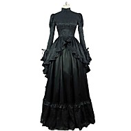 cheap -Rococo Victorian Costume Women's Dress Black Vintage Cosplay 100% Cotton Party Prom Long Sleeve Puff Sleeve Ball Gown Plus Size Customized