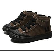 baratos Sapatos de Menino-Para Meninos / Para Meninas Sapatos Couro de Porco Inverno Coturnos Botas Velcro para Infantil Preto / Marron / Khaki