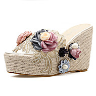 baratos Sapatos Femininos-Mulheres PVC Primavera & Outono Doce Sandálias Salto Plataforma Dedo Aberto Cinzento / Rosa claro / Amêndoa / Estampa Colorida
