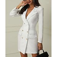 Жен. Элегантный стиль Тонкие Брюки - Однотонный Белый / Глубокий V-образный вырез / Сексуальные платья
