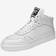 baratos Sapatos Masculinos-Homens Sapatos de couro Pele Napa Outono & inverno Esportivo / Colegial Tênis Manter Quente Branco / Preto